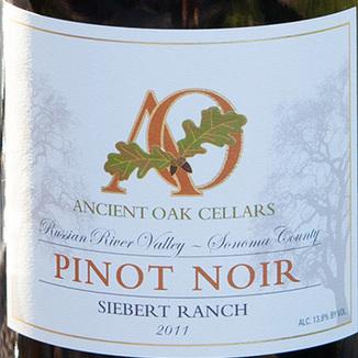 Ancient Oak Cellars 2011 Pinot Noir Siebert Ranch Russian River Valley 750ml Wine Label