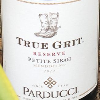 Parducci 2012 True Grit Petite Sirah 750ml Wine Label