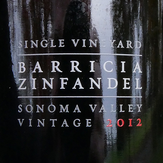 Ravenswood Winery 2012 Barricia Vineyard Sonoma Valley Zinfandel 750ml Wine Bottle