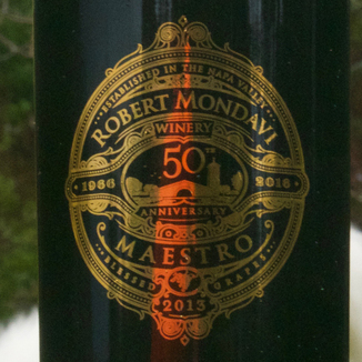 "Robert Mondavi Winery 2013 50th anniversary ""Maestro"" Red Wine 750ml Wine Label"