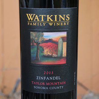 Watkins Family Winery 2013 Taylor Mountain Sonoma County Zinfandel 750ml Wine Label