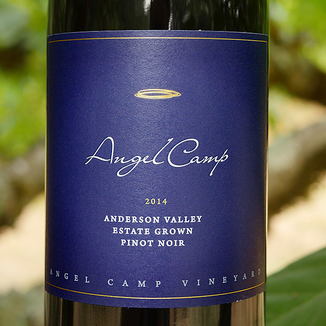 Angel Camp Vineyard 2014 Estate Grown Anderson Valley Pinot Noir 750ml Wine Label