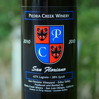 Piedra Creek Winery 2010 San Floriano Vineyard Red Wine 750ml Wine Label
