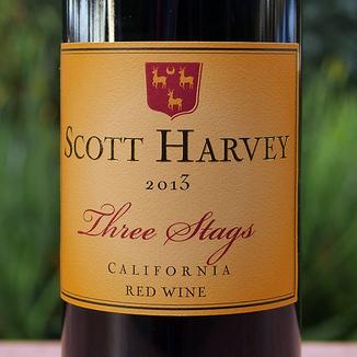 Scott Harvey Wines 2013 Three Stags California Red Wine 750ml Wine Label