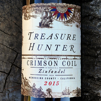 Kitfox Vineyards 2015 Treasure Hunter Crimson Coil Mendocino County Zinfandel 750ml Wine Label