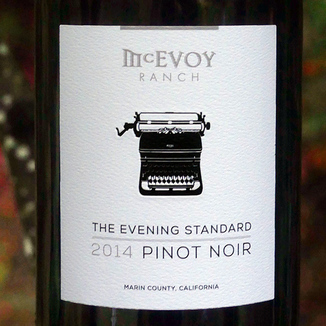 McEvoy Ranch 2014 The Evening Standard Pinot Noir Marin County California 750ml Wine Label
