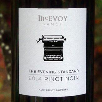 McEvoy Ranch 2014 The Evening Standard Pinot Noir Marin County California 750ml Wine Bottle