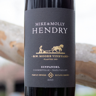 Mike & Molly Hendry Winery 2015 R.W. Moore Vineyard Coombsville Napa Valley Zinfandel 750ml Wine Label