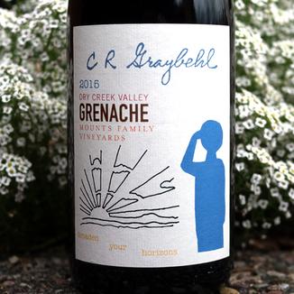 C R Graybehl Wine Company 2015 Mounts Family Vineyard Dry Creek Valley Grenache Noir 750ml Wine Label