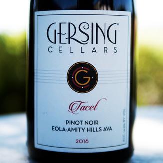 "Gersing Cellars 2016 Eola-Amity Hills ""Tacet"" Pinot Noir 750ml Wine Label"