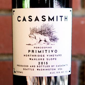 "Charles Smith Wines 2015 ""Casa Smith"" Porcospino Northridge Vineyard Wahluke Slope Primitivo 750ml Wine Label"