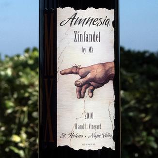 "MX Wines 2010 ""Amnesia"" H and L Vineyard St. Helena Zinfandel 750ml Wine Label"