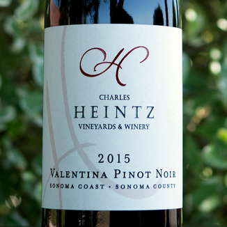 "Charles Heintz Vineyards 2015 ""Valentina"" Sonoma Coast Pinot Noir 750ml Wine Label"