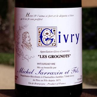 Domaine Michel Sarrazin et Fils 2015 'Les Grognots' Givry Blanc AOC 750ml Wine Label