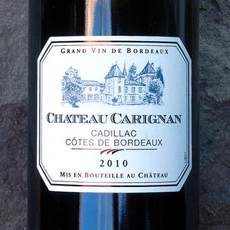 Château Carignan 2010 Cadillac Côtes de Bordeaux AOC 750ml Wine Label