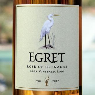 Bonneau Wines 2017 'Egret' ABBA Vineyard Rosé of Grenache 750ml Wine Label