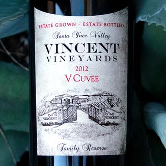 Vincent Vineyards & Winery 2012 'V Cuvée' Santa Ynez Valley Cabernet Blend 750ml Wine Label