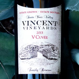 Vincent Vineyards & Winery 2013 'V Cuvée' Santa Ynez Valley Cabernet Blend 750ml Wine Label