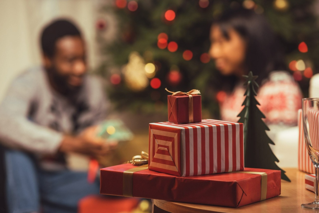 selective focus of various christmas gifts on table