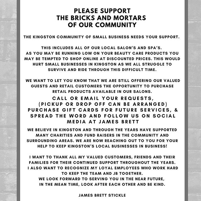 The Kingston community of small businesses needs your support. This includes all of our local Salons and Spas. As you may be running low your beauty/self-care products, we ask you to consider the local retailers with options still available instead of shopping online.  This is one of the many ways you can support small businesses in Kingston, as we all struggle to ride out this difficult and unprecedented time. • • • #ygk #ygkshops #kingstonontario #downtownkingston #shoplocal #supportlocalbusiness #ygkhairandbeauty #kingstonontariosalons #jamesbrettboutique #stlawrencecollege #queensuniversity