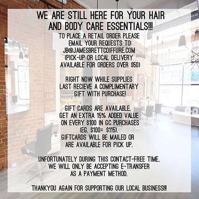 Retail orders are still available. Call the salon or email your requests to jb@jamesbrettcoiffure.com  Local delivery for orders exceeding $50.  Gift cards are available - order now to receive an additional 15% in value for every $100 you spend.  Receive a complimentary gift with purchase while supplies last! • • • #retail #retailtherapy #selfcare #supportlocal #supportlocalbusiness #supportlocalbusinessowners #aveda #avedacanada #davinesnorthamerica #depotmen #zoyanailspolish #ygk #kingstonsalon #jamesbrettcoiffure #jamesbrettboutique #kingstonontario #stlawrencecollege #queensuniversity