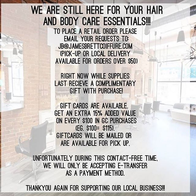 Don't forget!!! Retail orders are still available. Call the salon or email your requests to jb@jamesbrettcoiffure.com  Local delivery for orders exceeding $50.  Gift cards are available - order now to receive an additional 15% in value for every $100 you spend.  Receive a complimentary gift with purchase while supplies last! • • • #retail #retailtherapy #selfcare #supportlocal #supportlocalbusiness #supportlocalbusinessowners #aveda #avedacanada #davinesnorthamerica #depotmen #zoyanailspolish #ygk #kingstonsalon #jamesbrettcoiffure #jamesbrettboutique #kingstonontario #stlawrencecollege #queensuniversity