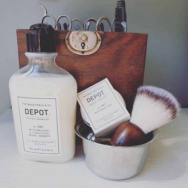 We have you covered when you need extra care for your beard and moustache! Come check out our men's Depot line! . . . #depotthemaletools #mensbeardcare #menshaircare #jamesbrettdowntown