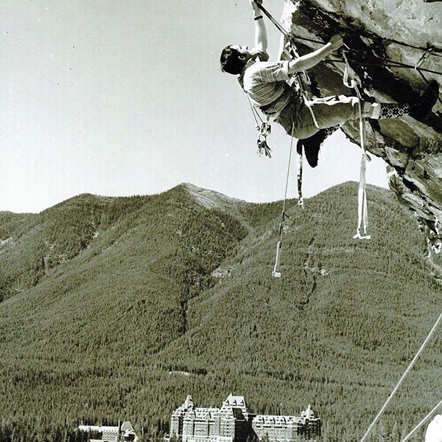 His radness in action from the archives. #Repost @theboldandcold ・・・ Rudi Gertsch was one of the forefathers of North American heli skiing, owner of Purcell Heli Skiing and a founder of Association of Canadian Mountain Guides. Here he is aid climbing out Gonda Roof on Tunnel Mountain above Banff 50 years ago. The climb now goes free at some tough grade. Photo Bruno Engler #climbing #legend #banff