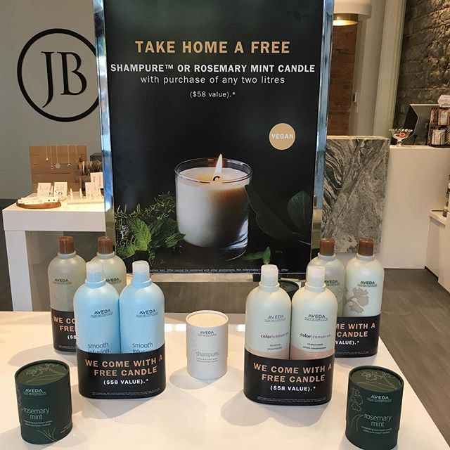 Come down and check out our LITREship promo! Buy any two @aveda litres and receive a free Shampure or Rosemary Mint soy candle! ️ • • • #aveda #avedacanada #avedalitreship #shampurecandle #rosemarymintcandle #downtownkingstonsalon #hairsalon #JBboutique #jamesbrettdowntown #dowtownkingstonontarioshopping #ygk #kingstonontario #queensuniversity #stlawrencecollege