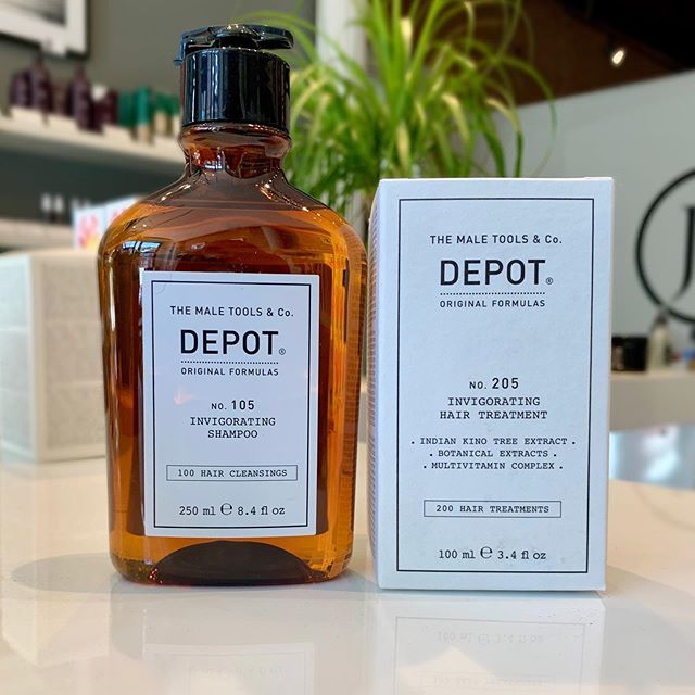 Purchase the Depot Invigorating Hair Treatment ($61.50 value) and receive the Depot Invigorating Shampoo ($42.00 value) FREE (Limited time only, while supplies last.) • • • #mensdepot #invigoratingshampoo #invigoratinghairtreatment #hairloss #scalpbenefits #jamesbrettboutique #jamesbrettdowntown #ygk #ygksalon #kingstonontario #downtownkingstonontario #queensuniversity #stlawrencecollege