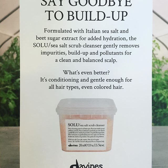 Get rid of build up and pollution in your hair with our new Davines Sea Salt Cleanser! #davines #davinesseasaltscrubcleanser #haircare