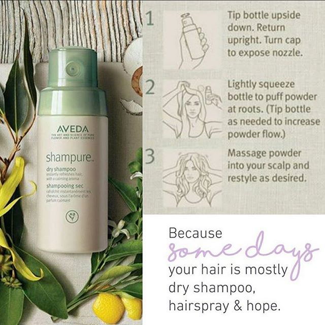Instantly revive your hair and senses with Aveda's Shampure Dry Shampoo. It's 99% naturally derived formula of non-aerosol powders absorb excess oil and impurities between shampoos. Cruelty free and ideal for all hair types.  Did we mention it has the calming Shampure aroma of 25 pure plant and flower essences! Try Aveda's Shampure Dry Shampoo to help extend your wash cycle, revive and freshen your hair after a work out, extend a great blowdry or simply refresh your hairstyle! . . . . #aveda #avedadryshampoo #holygrail #dryshampoo #rinseless #savewater #dry #refresh #revive #renew #nowash #shampure #powder #shampurearoma #avedahaircare #aroma #calming #botanical #naturallyderived #plantpower #nonaerosol #puff #justsqueeze #haircare #hairproducts #stylingproducts #crueltyfree #allhairtypes #sustainablebeauty #jamesbrettcoiffure  @aveda @avedacanada @jamesbrettwest @jamesbrettdowntown