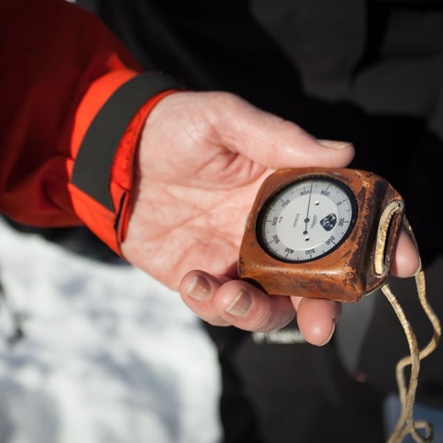 """They don't make 'em like they used to.""⁠ ⁠ Rudi's altimeter, passed from his mountain guide father down to him, has been to countless peaks and places.⁠ ⁠ Maybe none more memorable than standing on a beach in Iceland, in ski boots, where it faithfully read '0'. Ah, sea level. That's a first!⁠ .⁠ .⁠ #FromtheArchives #ExploreBCLater⁠ .⁠ @dibbledibble"