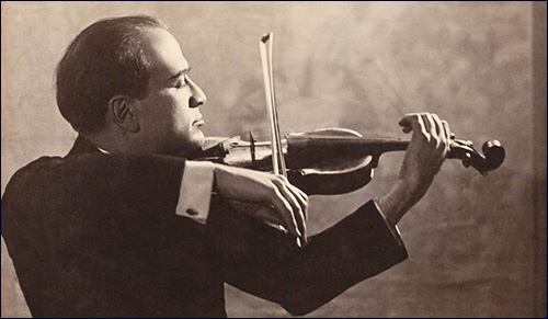 Bronislaw Huberman playing his Strad
