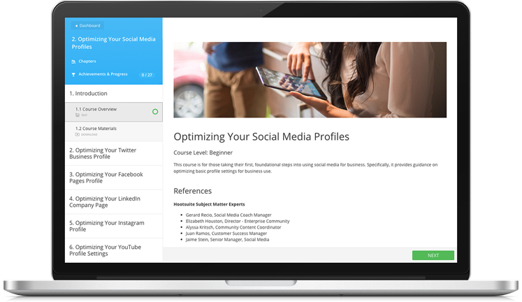 Social Marketing Certification - Hootsuite social media strategy template