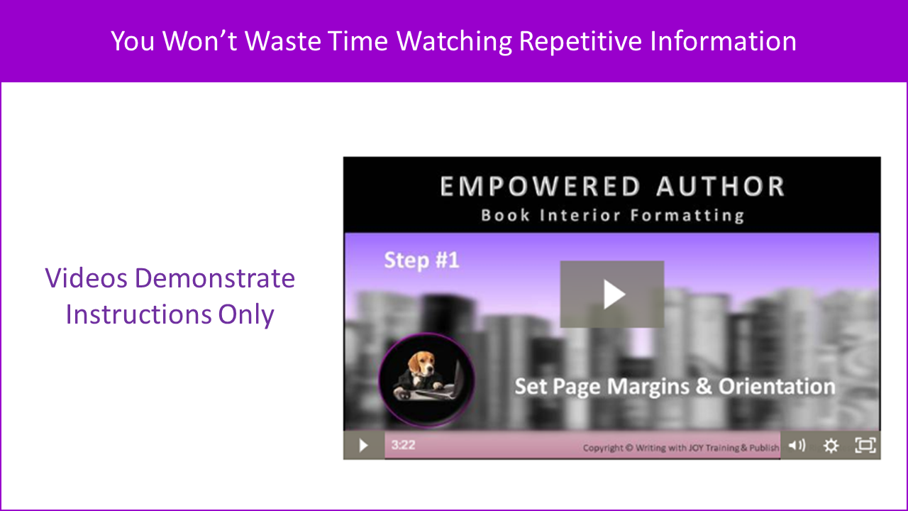 Videos Demonstrate Instructions Only - You Won't Waste Time