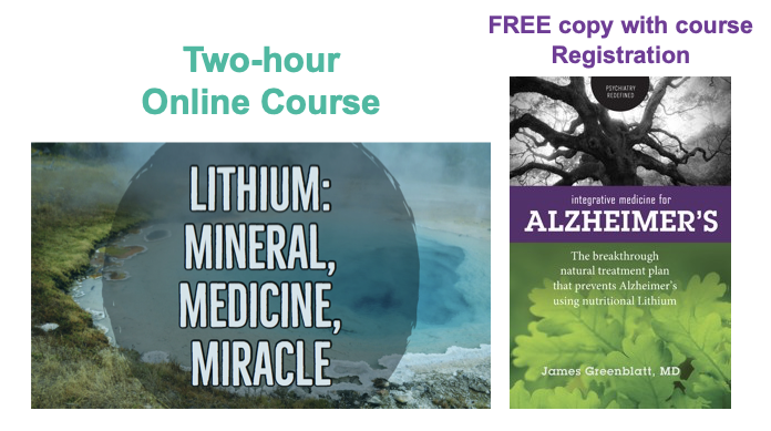 Free copy of Alzheimers' book available with the registration for the Lithium Course
