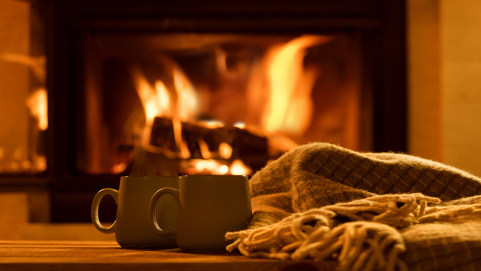 mugs in front of a fire