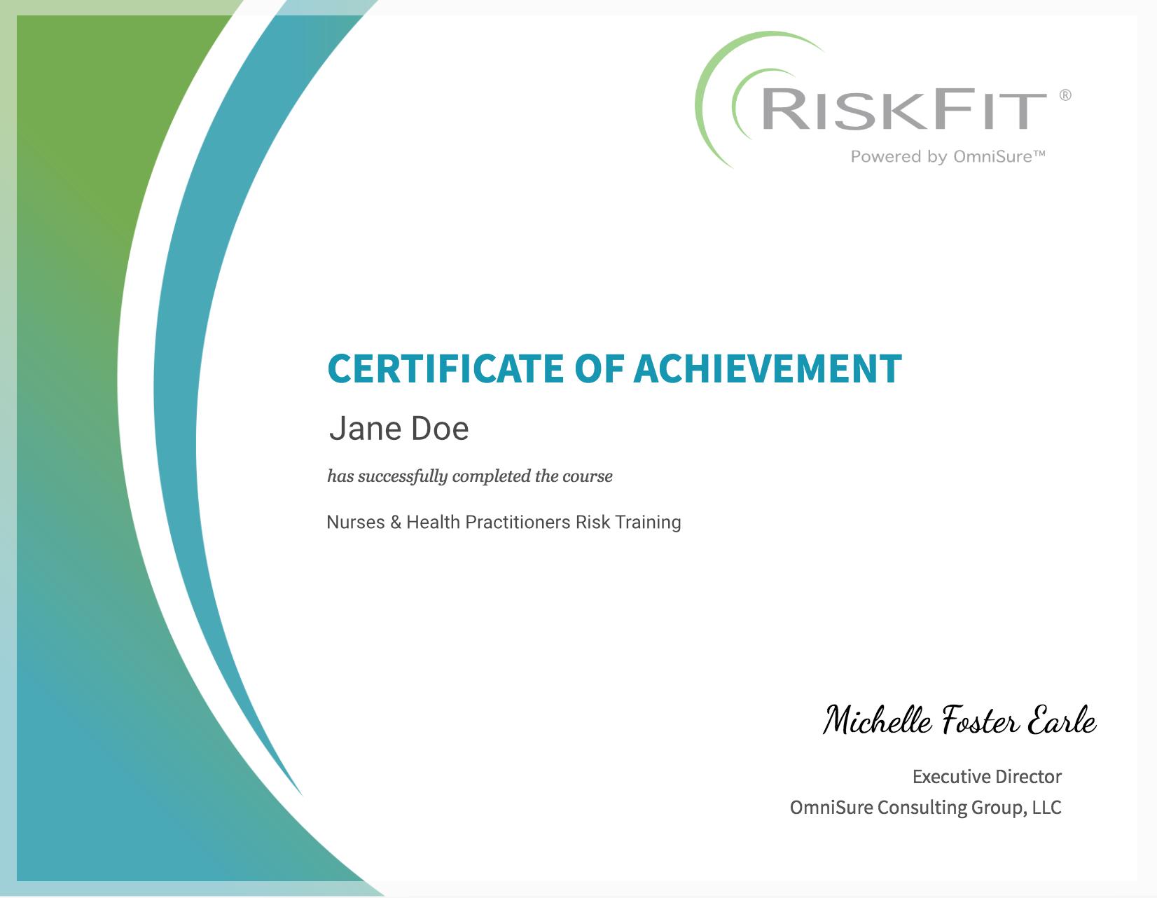 Earn a RiskFit Certificate