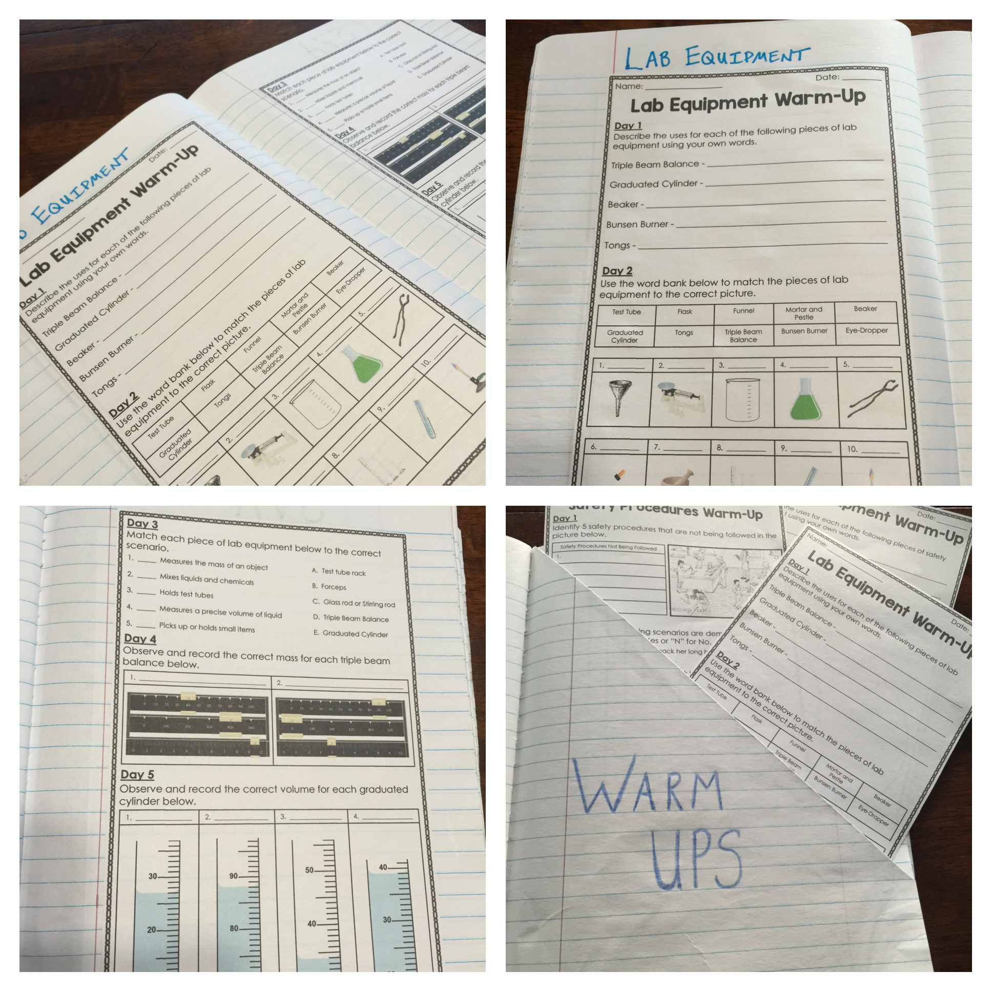 Safety and Scientific Method Warm-Ups