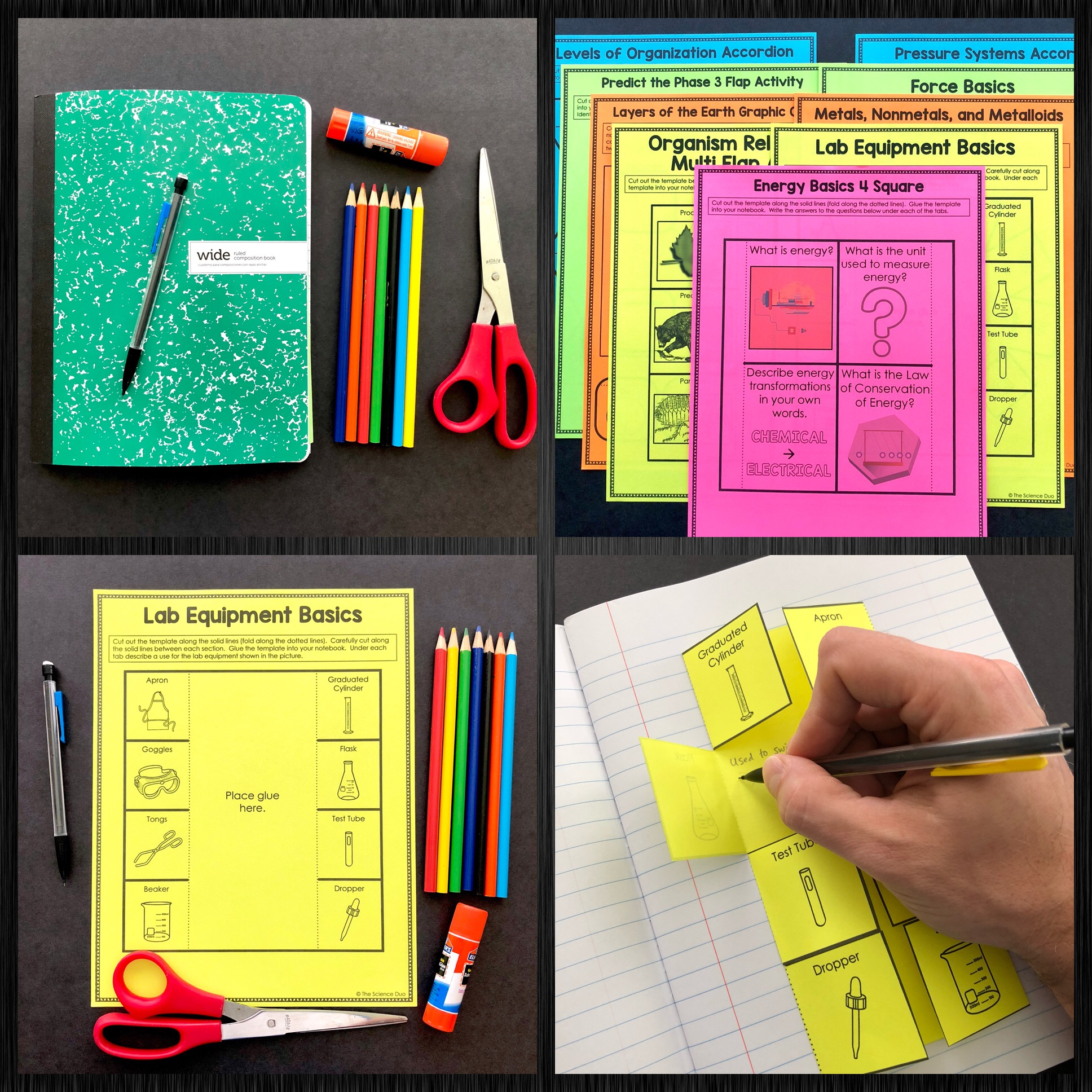 Science Lab Safety and Scientific Method Interactive Notebook Pages