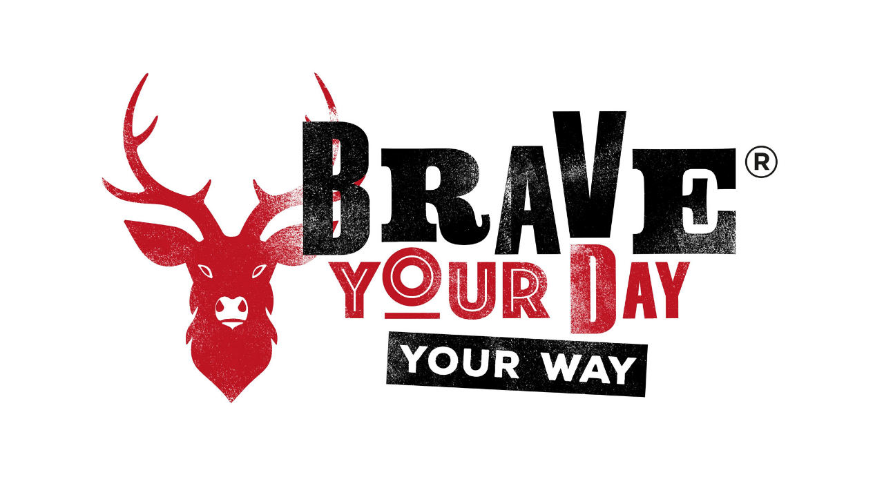 Logo black and red stag with words Brave your Day Your Way