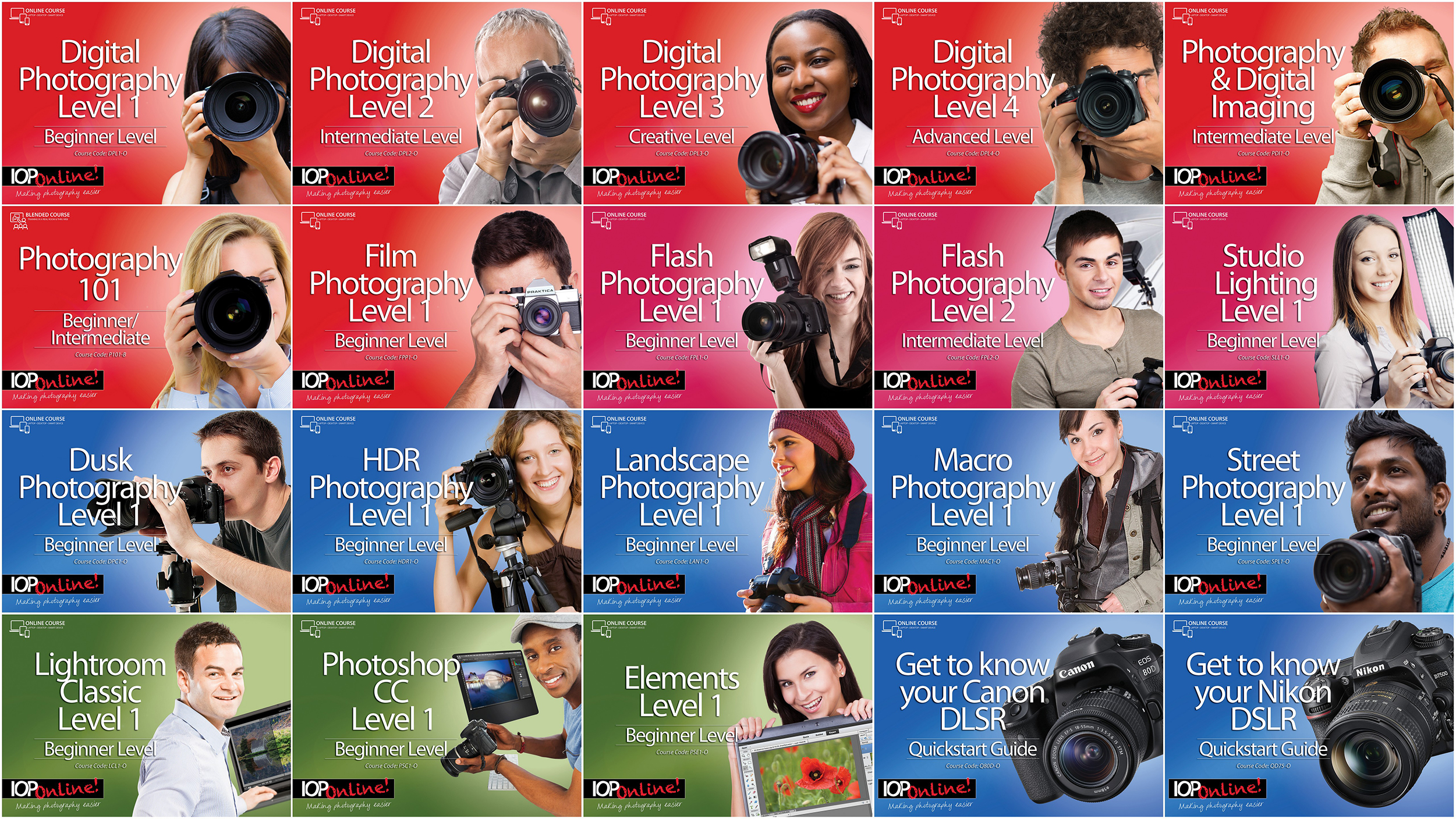 The full list of IOP Online photography and software courses