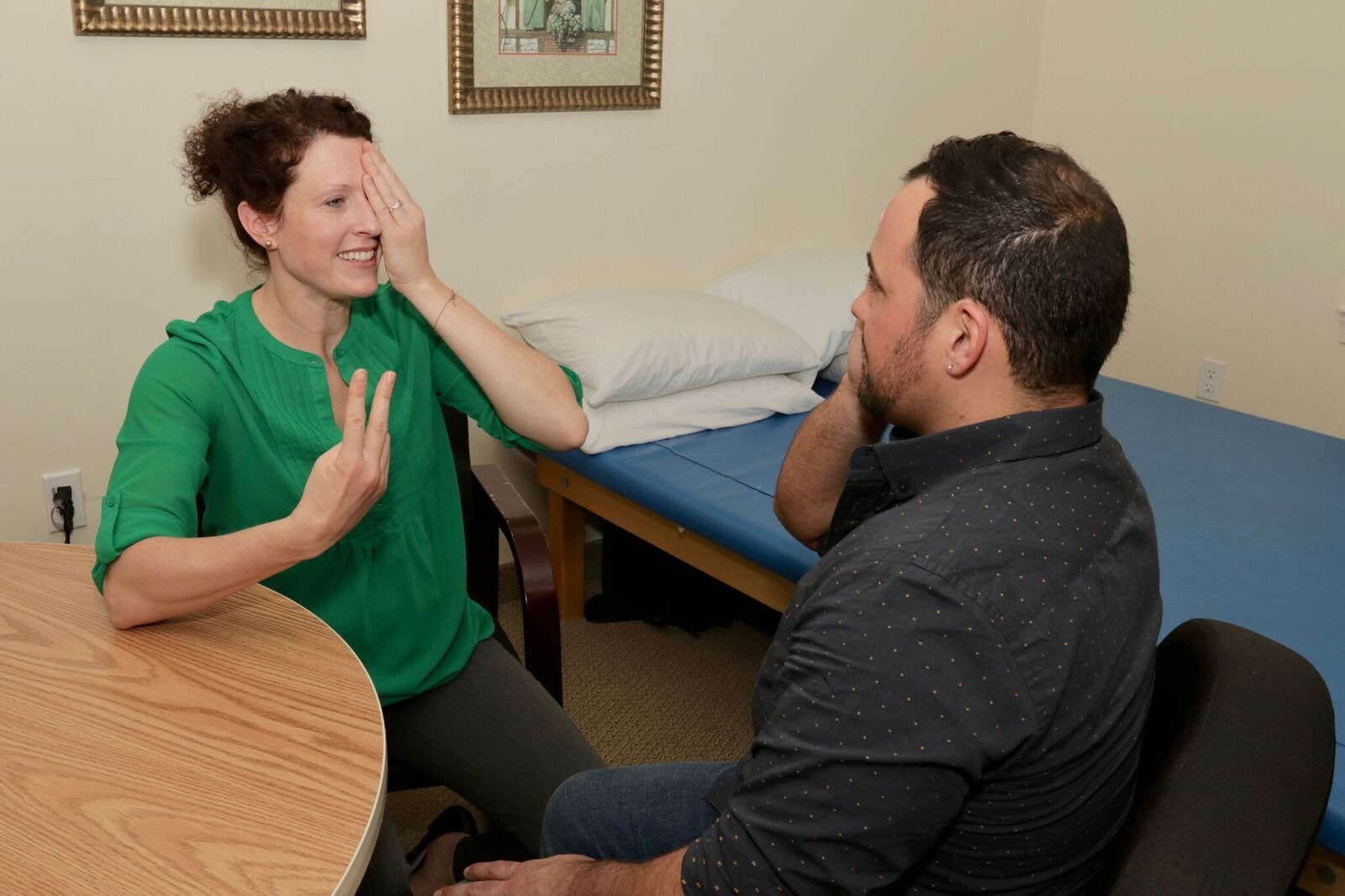 The occupational therapists performs quadrant visual field testing to help determine functional visual field.