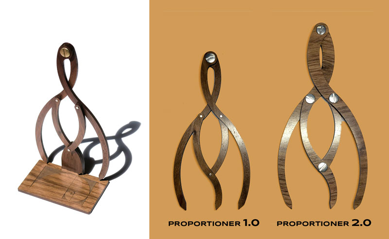 Proportioners 1.0 and 2.0 shown with original on magnetic stand