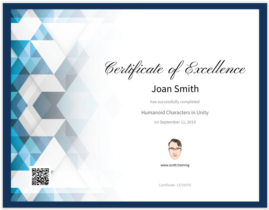 Example certificate earned from scott.training