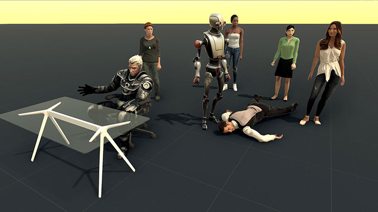 scene with multiple 3D characters including modern people in business attire, a robot and a medieval character.