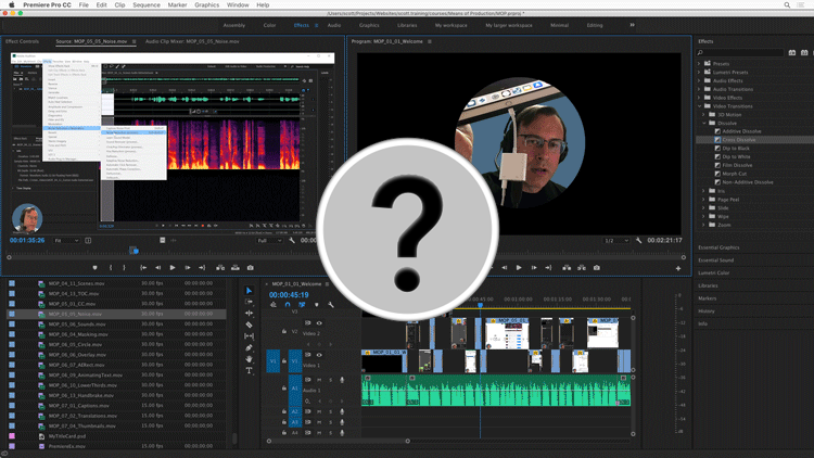 screen capture of audio and video editing software with question mark superimposed