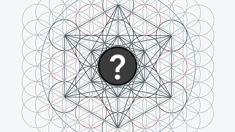 thumbnail image showing metatron's cube design with a question mark inside it