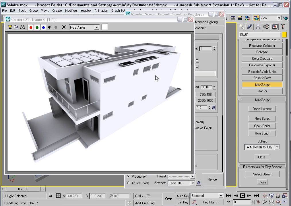 building exterior rendering inside 3ds Max user interface